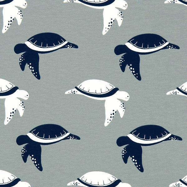 Jersey Schildkröte – grau - Baumwolljersey- stoffe.de