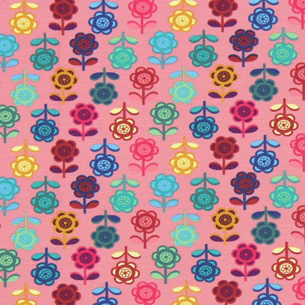Jersey bunte Blume – altrosa
