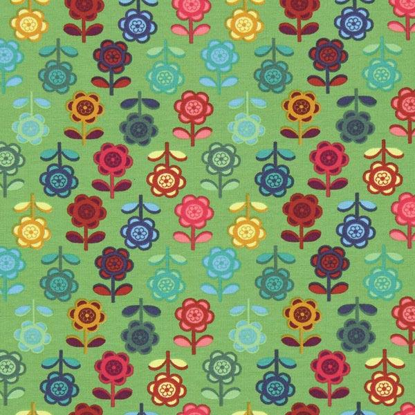 Jersey bunte Blume – grasgrün