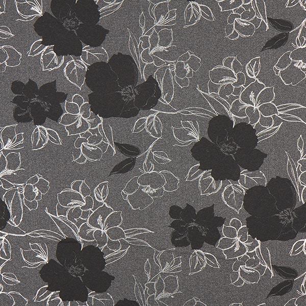 Sweatshirtstoff Blumen 1 – anthrazit