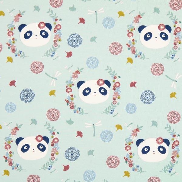 Babyblauer Sommersweat mit Pandas und Blumen