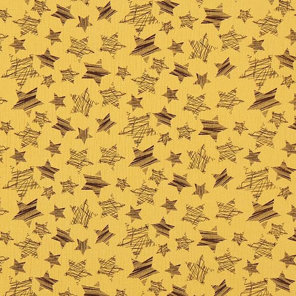 Senffarbener Musselin mit Sternen