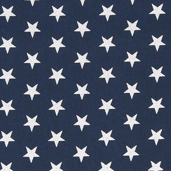 Popeline étoile Argentée Médium Bleu Marine Tissus En Coton