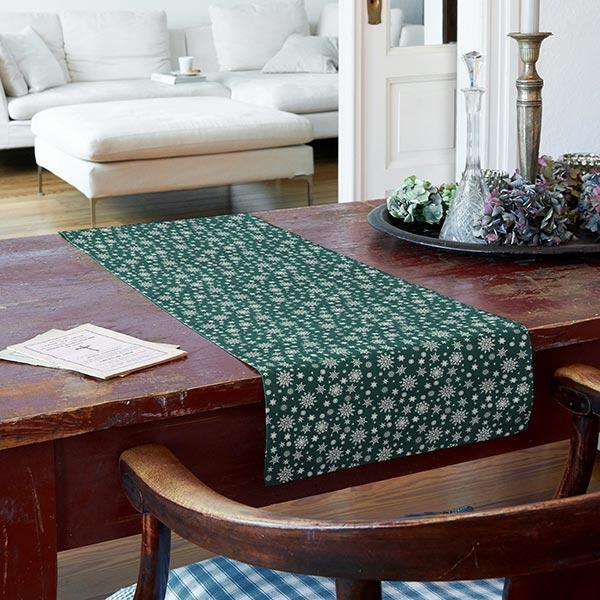 popeline silberne schneeflocken dunkelgr n baumwollstoffe. Black Bedroom Furniture Sets. Home Design Ideas