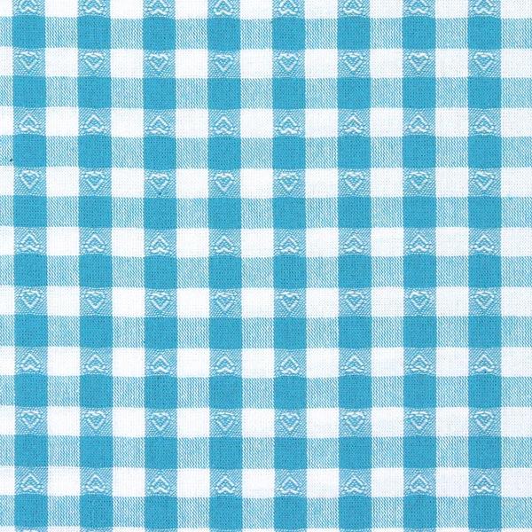 2616cc570924 Baumwollstoff Herzkaro - türkisblau