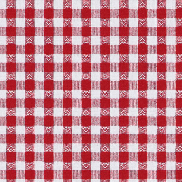 Baumwollstoff Herzkaro - signalrot - Muster