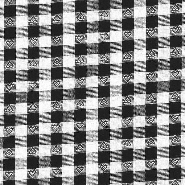 Baumwollstoff Herzkaro - schwarz - Muster