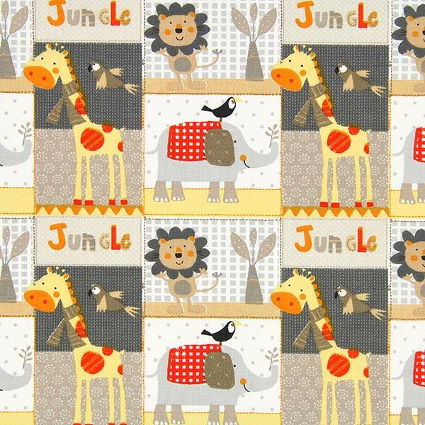 Jungle animals 2 cretonne grey cotton fabricsfavorable buying at our shop - Comprar telas infantiles ...