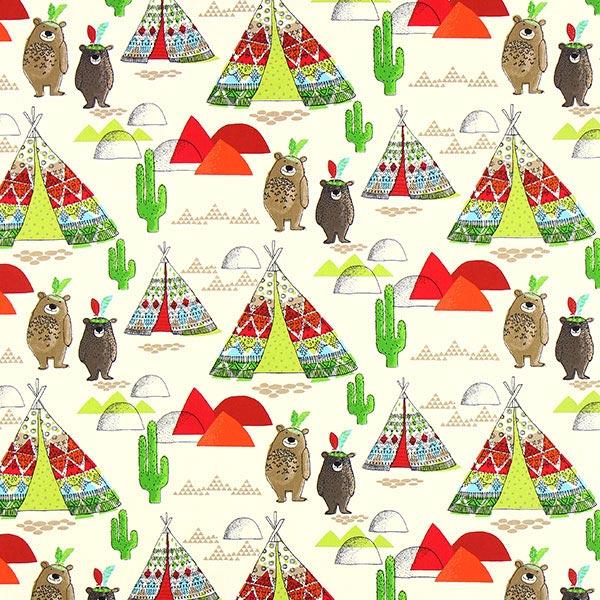 Teepee and bears cretonne 1 red children s decor for Children s home decor fabric
