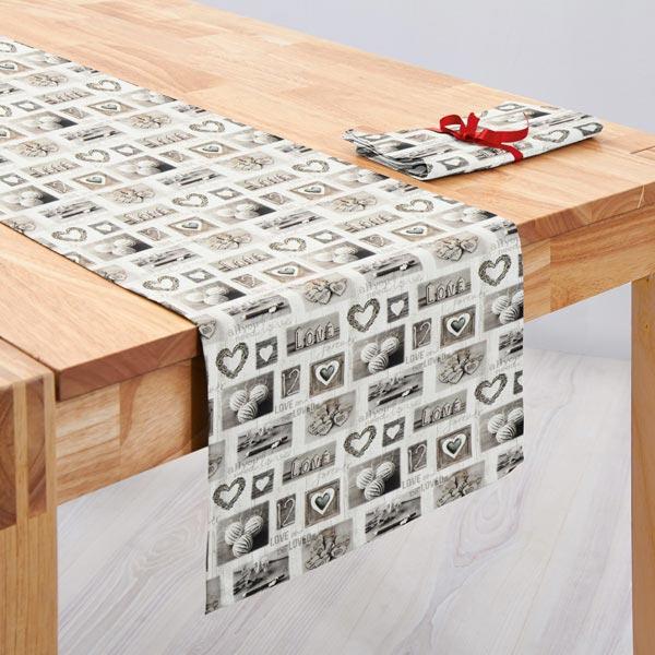 Cretonne collage di cuori e betulle grigio tessuti per for Cretonne per arredamento e tappezzerie