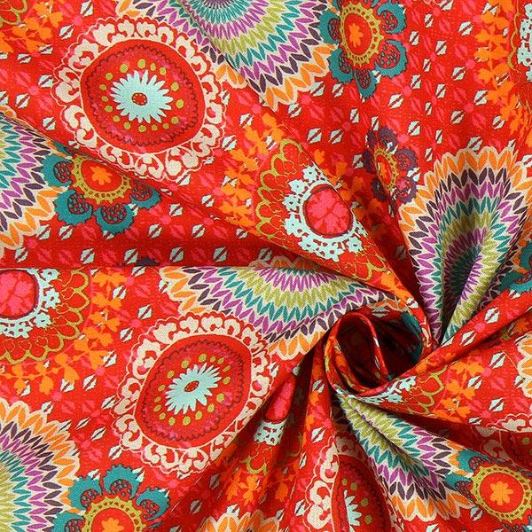 Cretonne cerchi e fiori tijuana rosso tessuti per for Cretonne per arredamento e tappezzerie