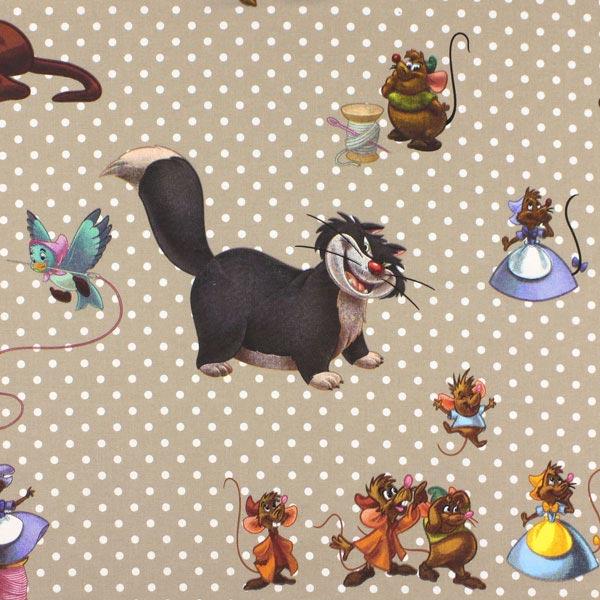 Beigefarbener Dekostoff Disneys 'Ratatouille'