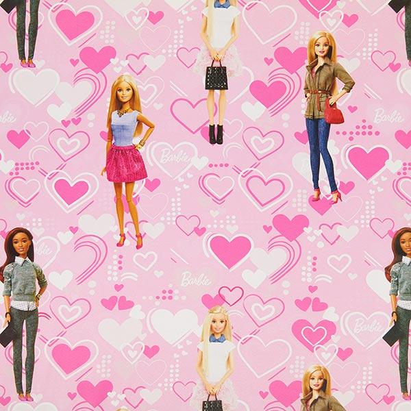Rosafarbener Verdunkelungsstoff mit Barbie und Herzen