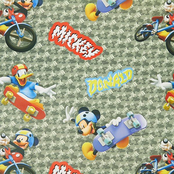Disney mickey mouse black out fabric 2 grey children s for Grey childrens fabric