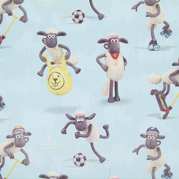 Blauer Verdunkelungsstoff 'Shaun das Schaf'