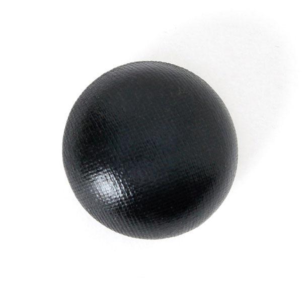 Halbkugelknopf mit schwarzem Folienjersey bezogen
