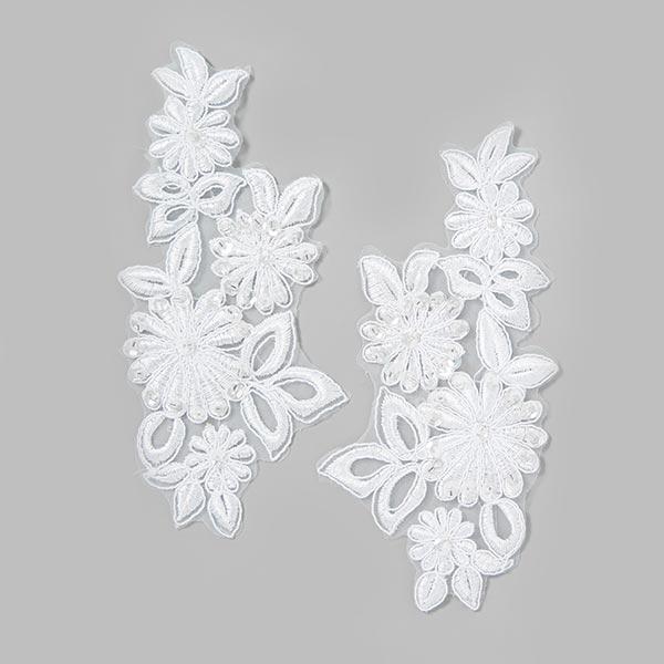 Applikation Besatz Blumen (6,5 x 16 cm) - weiss