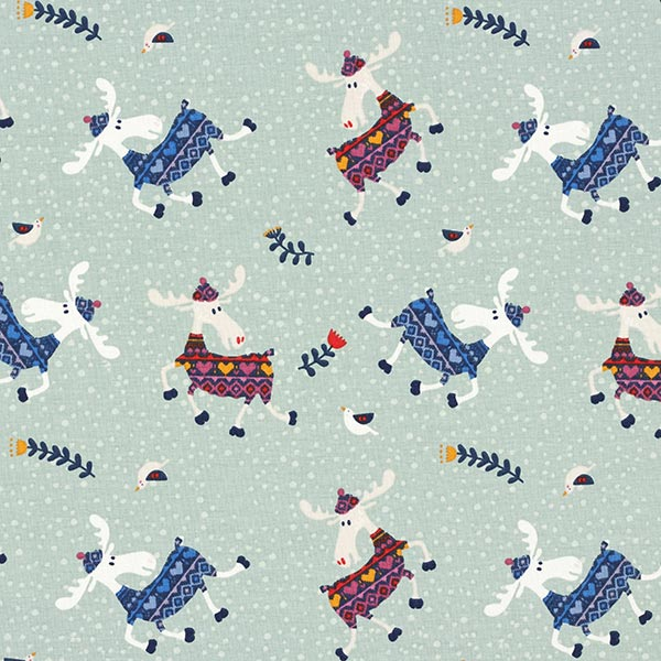Weihnachtsstoff mit lustigen Elchen