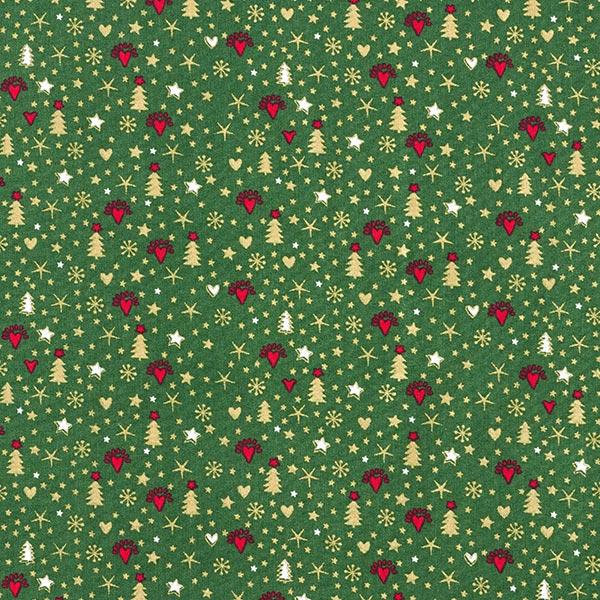 Weihnachtsstoff mit kleinen Christbäumen