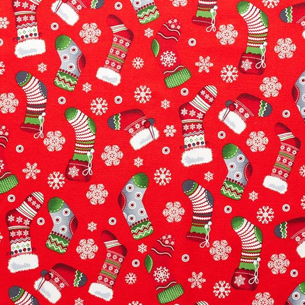 Weihnachtsstoff mit bunten Strümpfen