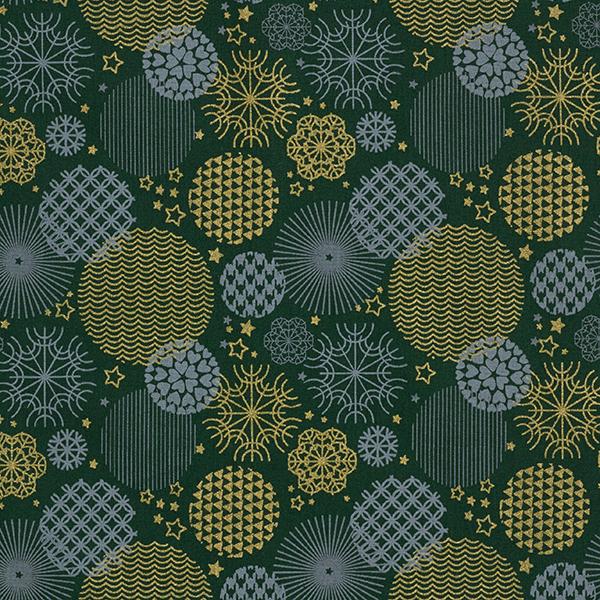 Weihnachtsstoff in Dunkelgrün mit Weihnachtsornamenten