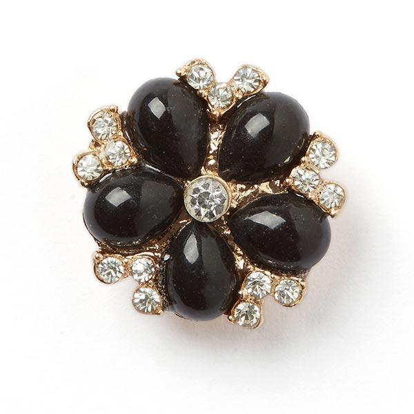 Strassknopf mit schwarzen Perlen
