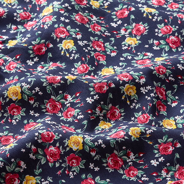 Blusenstoff Baumwollpopeline kleine Rosen – marineblau