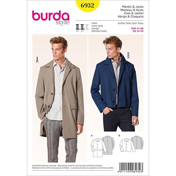 new style 3ca04 e8273 Cappotto / giacca da uomo, Burda 6932