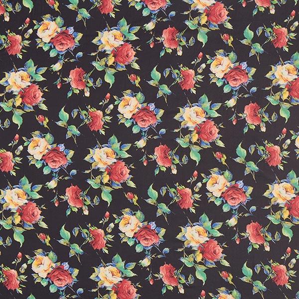 Chifón Rosas Bonitas Negro