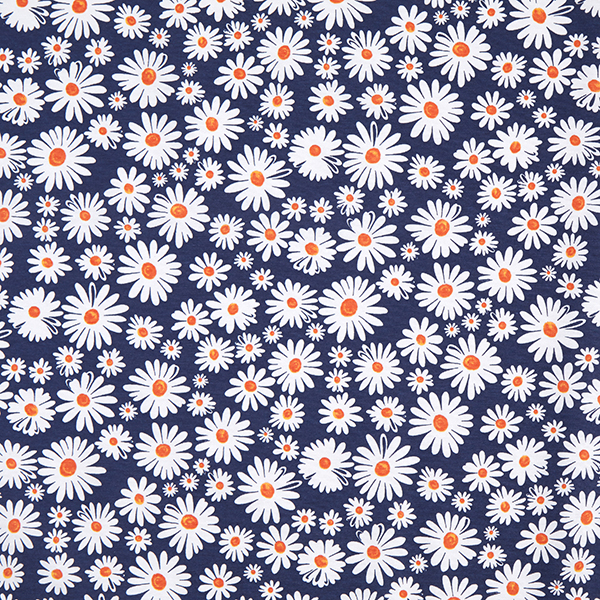Dekostoff Canvas Margeriten Blüten Marineblau