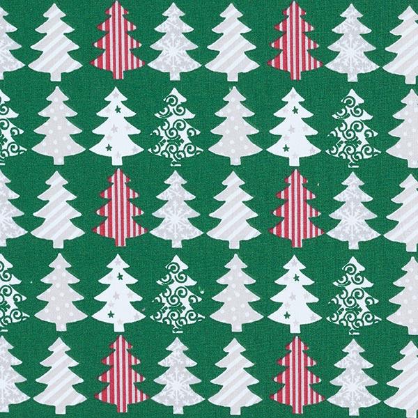 Dekostoff mit Weihnachtsbaum-Druck