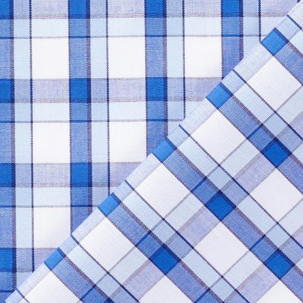 Tissu de chemise Carreaux Tom – bleu roi/blanc