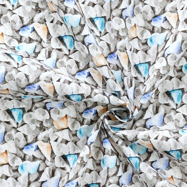 Tissu lin et coton Feuilles – gris
