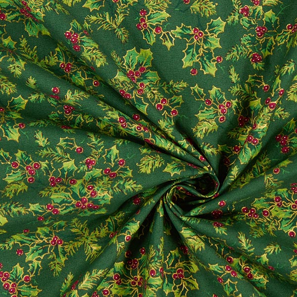 Tissu en coton Cretonne Houx – vert foncé
