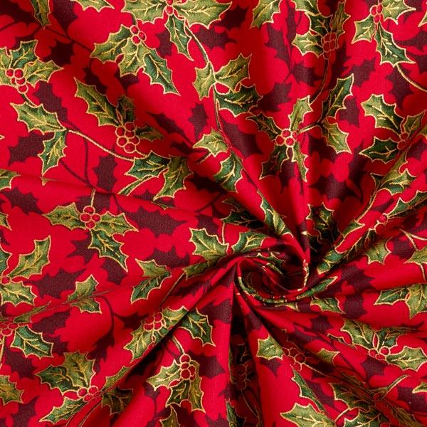 Tissu en coton Popeline Houx – rouge/or
