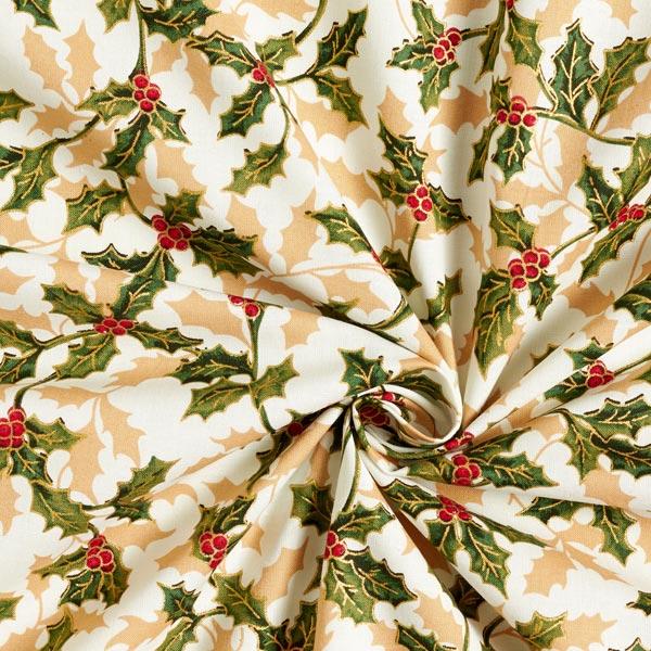 Tissu en coton Popeline Branche de gui – écru/or