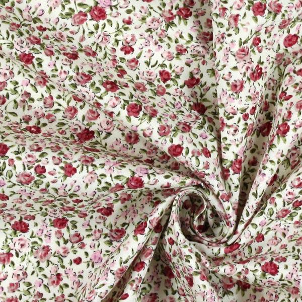 Baumwollstoff Blumen Domburg 3 - rosa