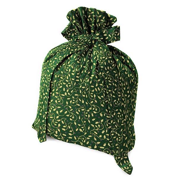 Baumwollstoff Popeline Weihnachtsranken – vert foncé/or