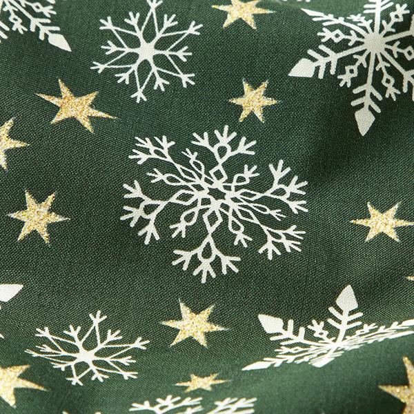 Baumwollstoff Popeline Glitzernde Sterne – vert foncé/blanc