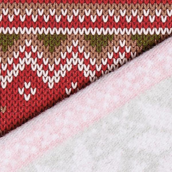 Tissu sweatshirt Motif norvégien – rouge/vert