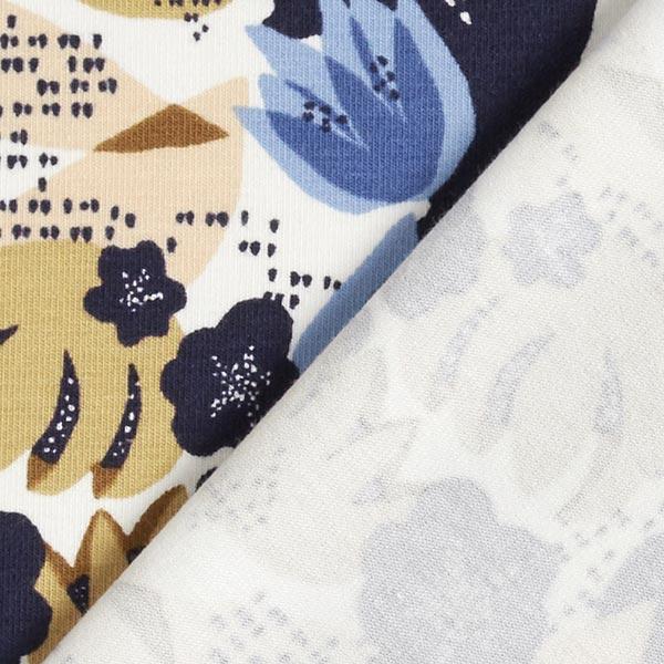 Jersey Fleurs abstraites – bleu/marron clair