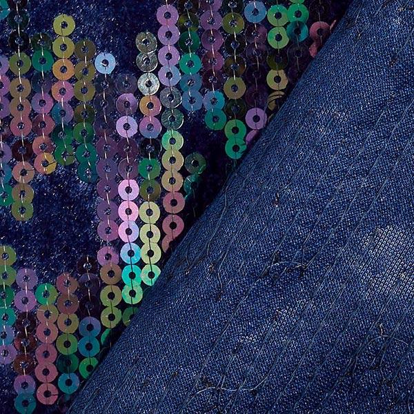 Panne de velours avec broderie à paillettes Camouflage – bleu marine