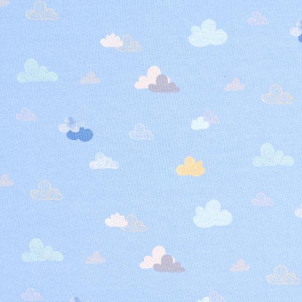 Jersey coton Panel Cochon nuage – bleu clair