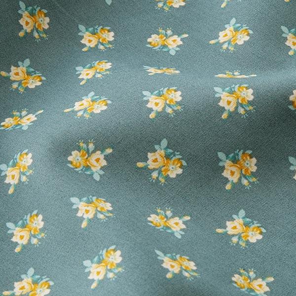 Tissu en coton Cretonne Roses miniatures – gris foncé/jaune
