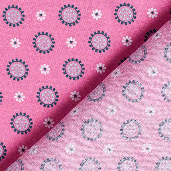 Tissu en coton Cretonne Couronne de fleurs – rose vif
