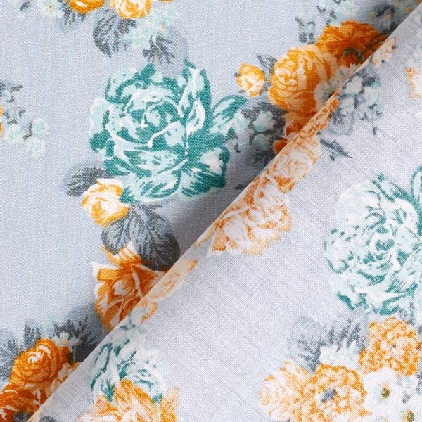 Tissu en coton Cretonne Roses – gris clair/jaune