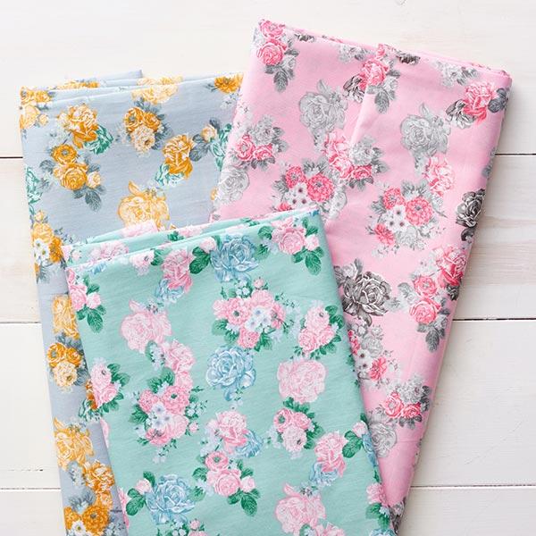 Tissu en coton Cretonne Roses – rose/gris