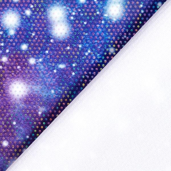 Jersey feuilles Paillettes de fête – lilas/bleu