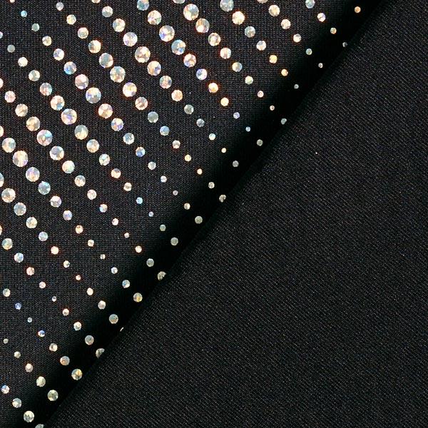 Jersey feuilles Rayures de points scintillants – argent/noir