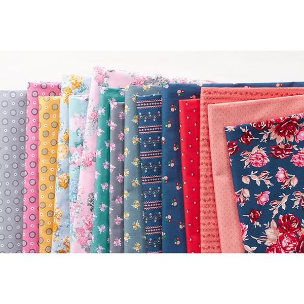 Tissu en coton Popeline Boutons de roses folkloriques – rouge clair